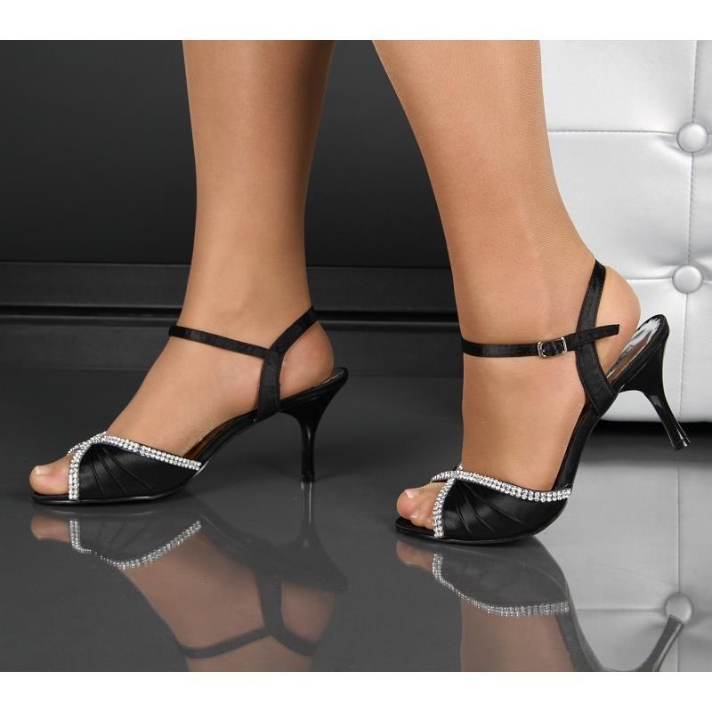 edle satin riemchen sandaletten mit strass abendschuhe schwarz. Black Bedroom Furniture Sets. Home Design Ideas