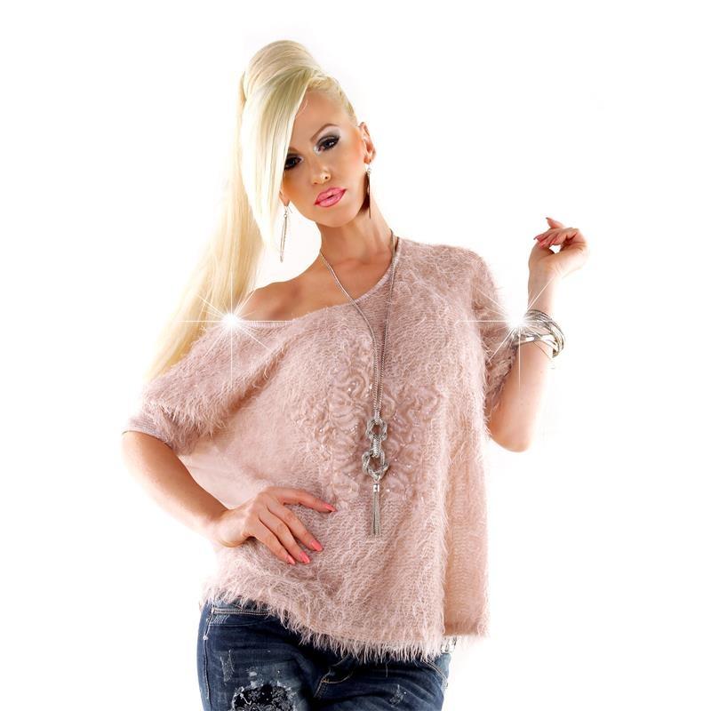 edler 2 teiler kuschel pullover mit chiffon und pailletten rosa einhe. Black Bedroom Furniture Sets. Home Design Ideas