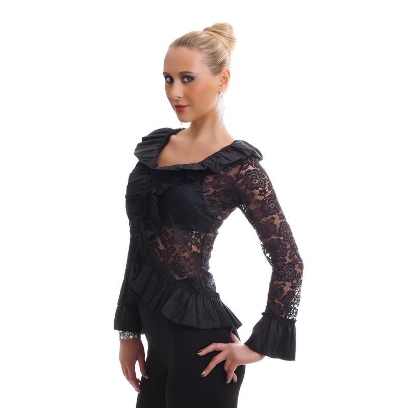 elegante langarm bluse aus spitze mit volants 29 95. Black Bedroom Furniture Sets. Home Design Ideas