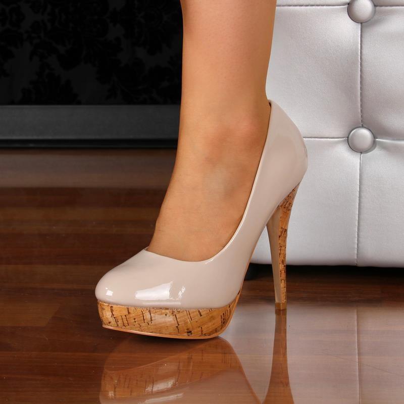 elegant pumps high heels platform shoes cork look beige 29 95. Black Bedroom Furniture Sets. Home Design Ideas