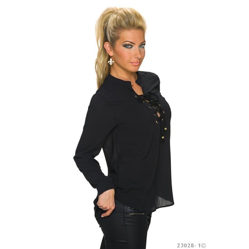 elegante transparente chiffon bluse mit schn rung 26 95. Black Bedroom Furniture Sets. Home Design Ideas
