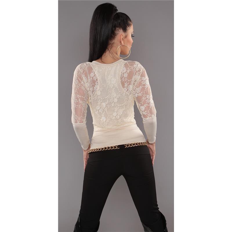 elegantes 2in1 langarm shirt mit spitze 19 95. Black Bedroom Furniture Sets. Home Design Ideas