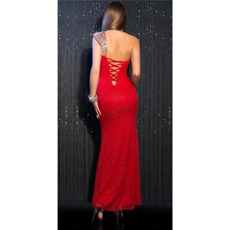 elegantes langes one shoulder abendkleid aus spitze 49 95. Black Bedroom Furniture Sets. Home Design Ideas
