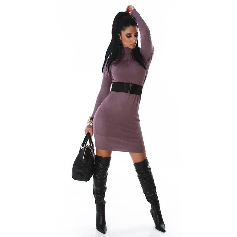 elegantes langes strick kleid kleid mit g rtel altlila 19. Black Bedroom Furniture Sets. Home Design Ideas