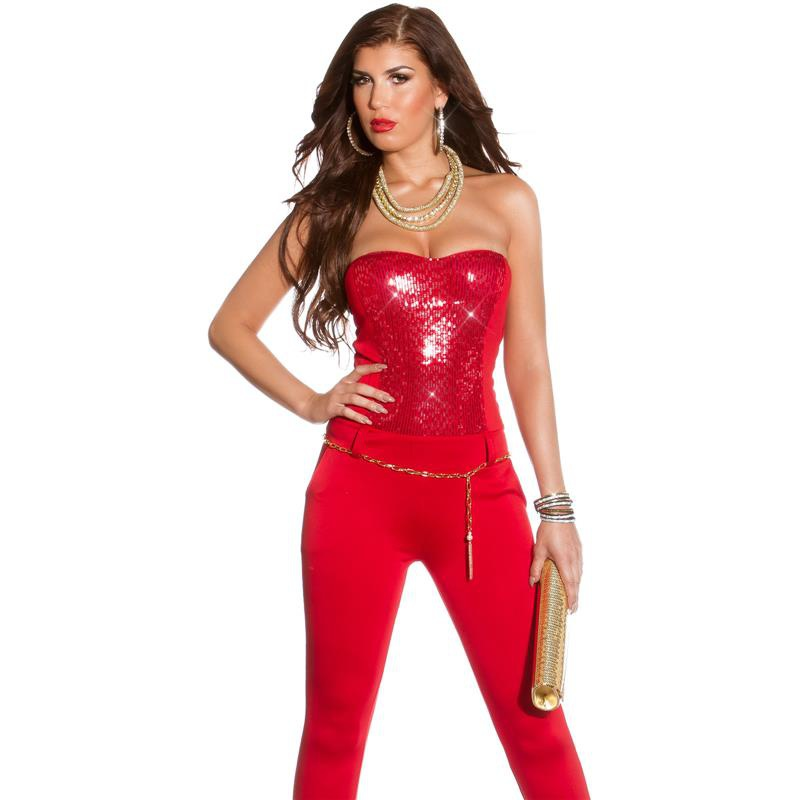 sequined glamour party overall jumpsuit with belt clubbing red uk 12. Black Bedroom Furniture Sets. Home Design Ideas
