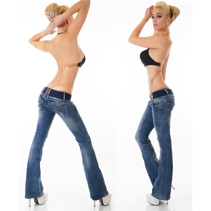 SEXY BOOTCUT JEANS IN USED-LOOK WITH BELT, 34,95 €