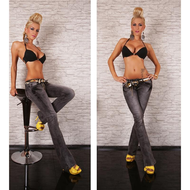 SEXY BOOTCUT JEANS IN USED-LOOK WITH TIE BELT, 34,95 €