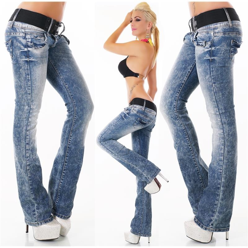 SEXY HIGH-WAISTED BOOTCUT JEANS ACID-WASH INCL. BELT, 39,95 €