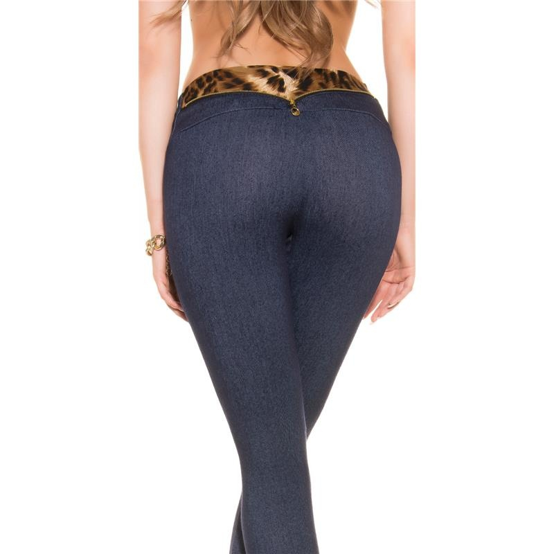 sexy leggings in jeans look with leopard waistband 19 95. Black Bedroom Furniture Sets. Home Design Ideas