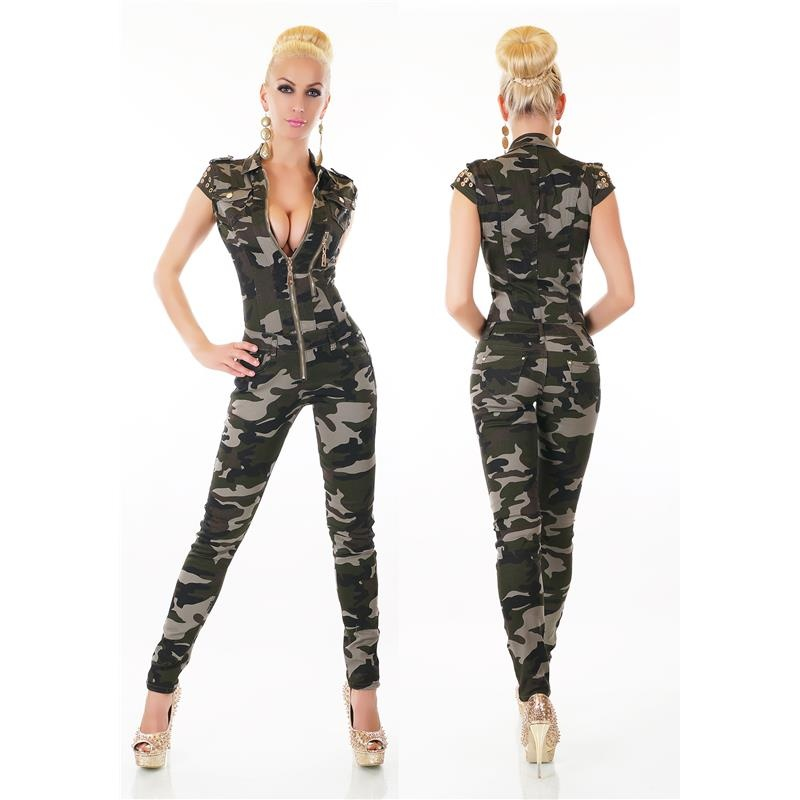 SEXY WAISTED SHORT-SLEEVED JEANS IN ARMY-LOOK, 59,95 €