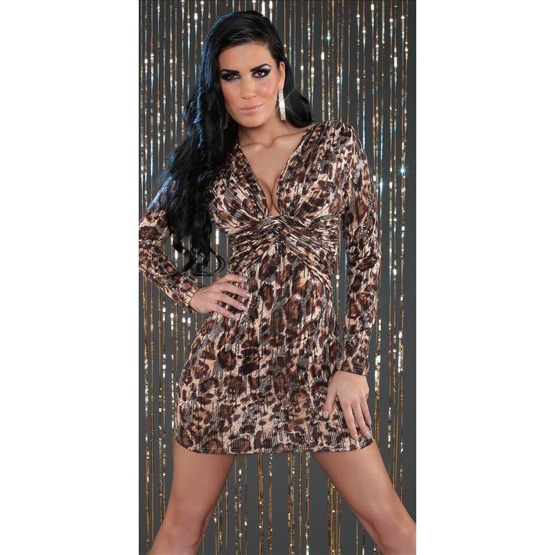 Leopard long sleeve party dress