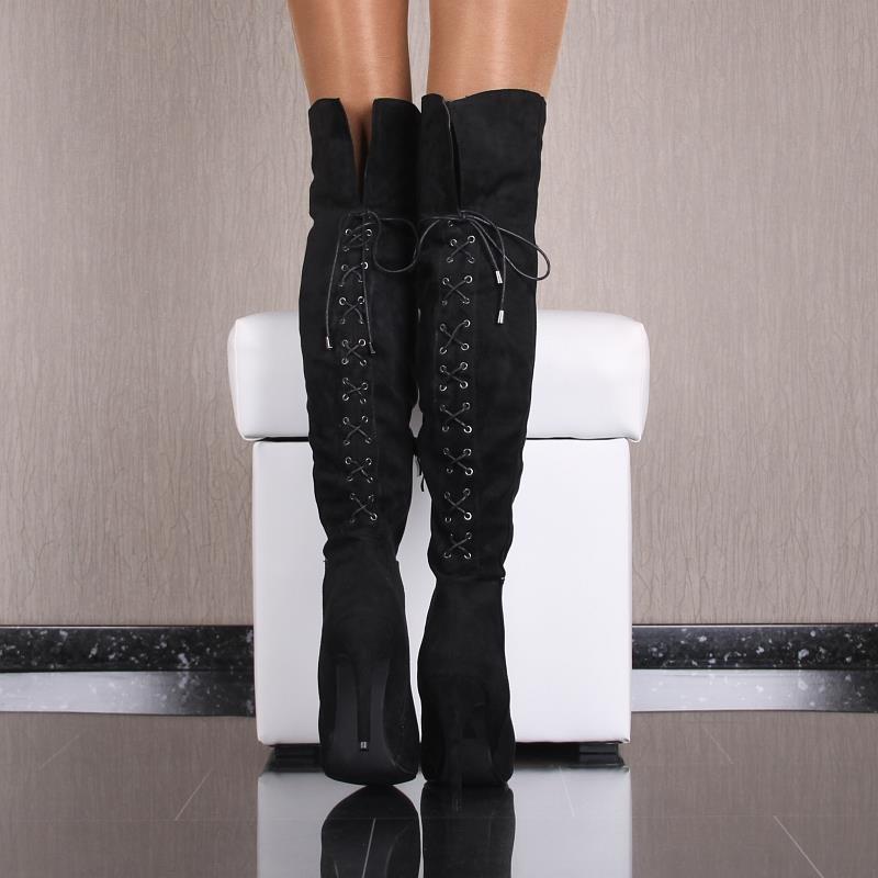 sexy overknee stiefel in wildleder optik mit schn rung 59 95. Black Bedroom Furniture Sets. Home Design Ideas