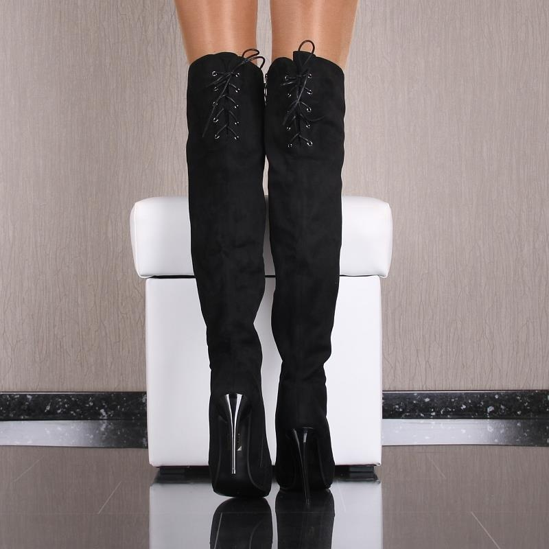 sexy ladies 39 overknee boots with lacing 59 95. Black Bedroom Furniture Sets. Home Design Ideas