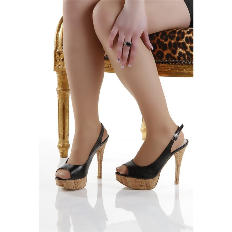 ... SEXY PEEP TOES PLATFORM HIGH HEELS SHOES WITH CORK BLACK ... - SEXY PLATFORM HIGH HEELS WITH CORK, 34,95 €