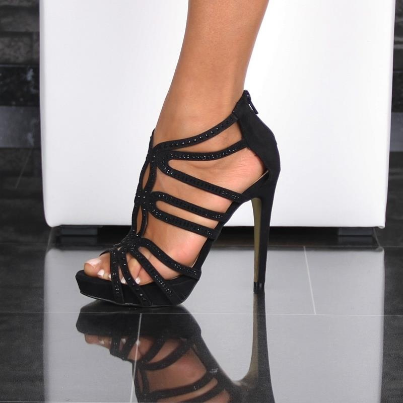 sexy velour sandals with filigree straps and black stones 29 95. Black Bedroom Furniture Sets. Home Design Ideas