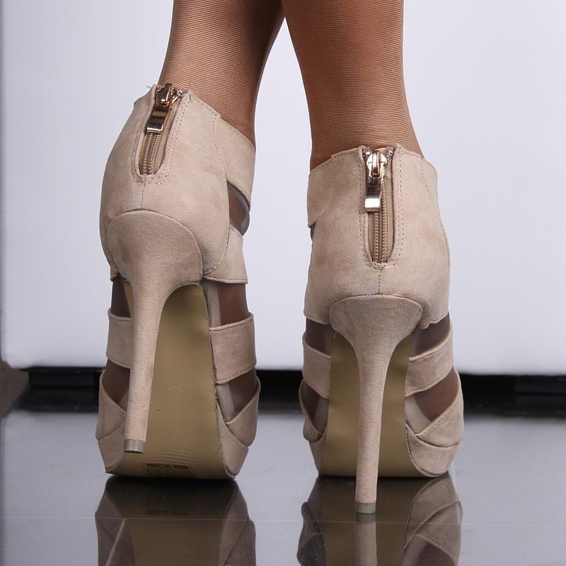 sexy plateau sandaletten peep toes high heels velours beige eur 37 2. Black Bedroom Furniture Sets. Home Design Ideas