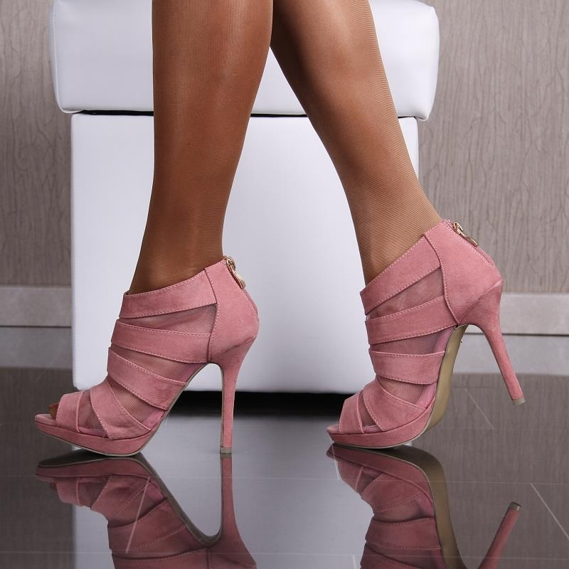 sexy platform sandals high heels peep toes velour pink. Black Bedroom Furniture Sets. Home Design Ideas