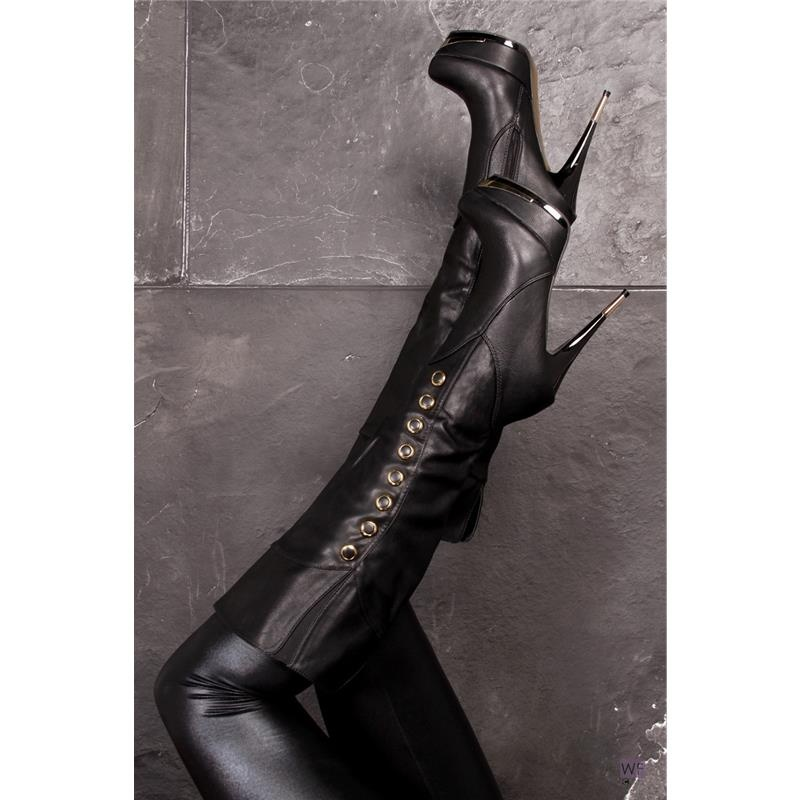 Damenstiefel schwarz mit gold