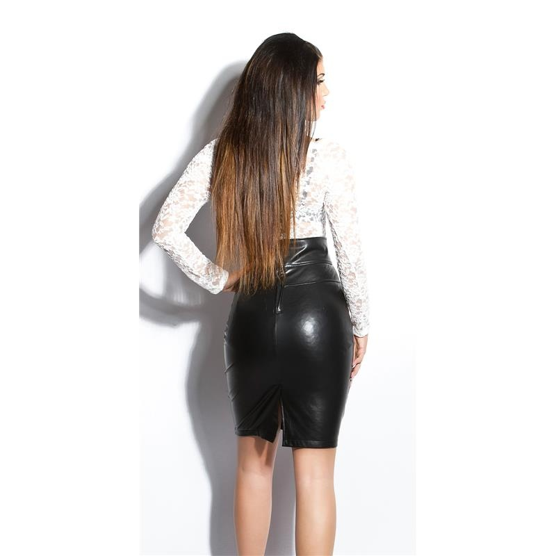 Wet Look Leather Skirt