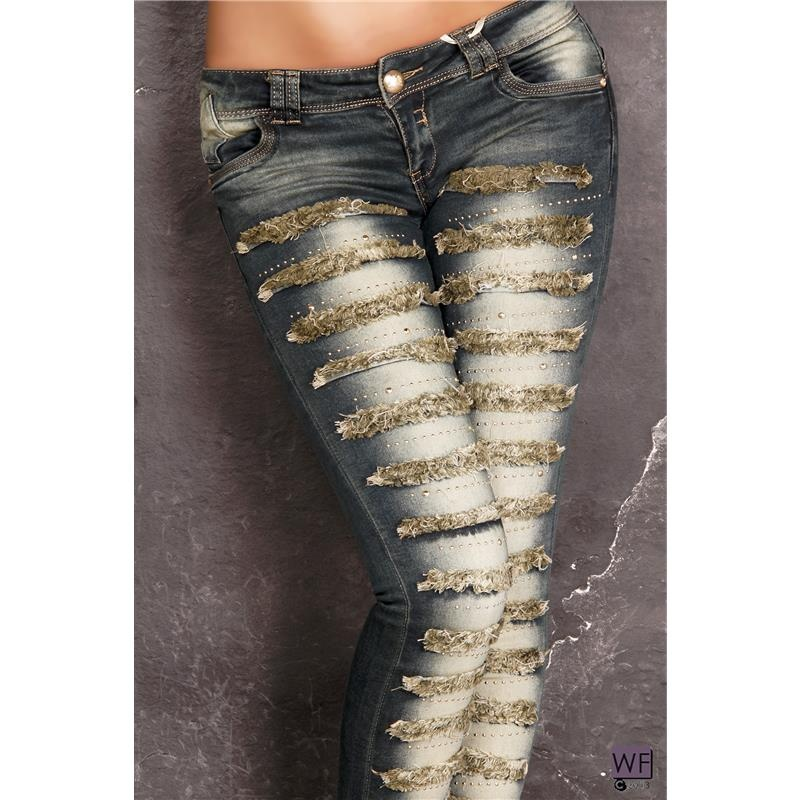 sexy used look drainpipe jeans with fringes and rivets 39. Black Bedroom Furniture Sets. Home Design Ideas