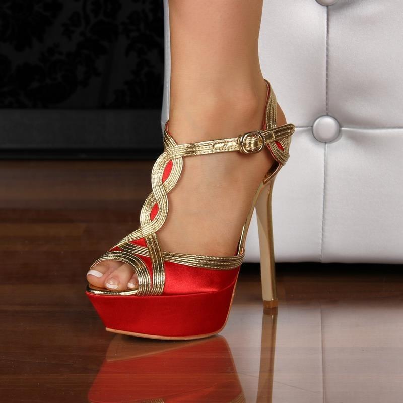 sexy sandals platforms high heels peep toes red. Black Bedroom Furniture Sets. Home Design Ideas