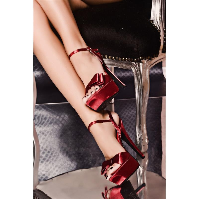 SEXY SATIN PLATFORM-SHOES HIGH HEELS RED 5995 €