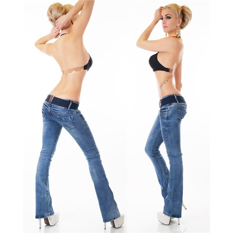 SEXY USED-LOOK BOOTCUT JEANS WITH BUTTON FLY INCL. BELT, 34,95 €