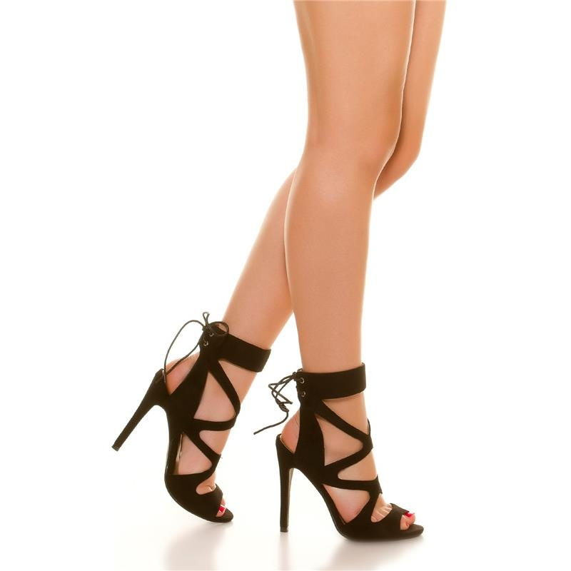 sexy velour sandals high heels shoes with lacing black. Black Bedroom Furniture Sets. Home Design Ideas