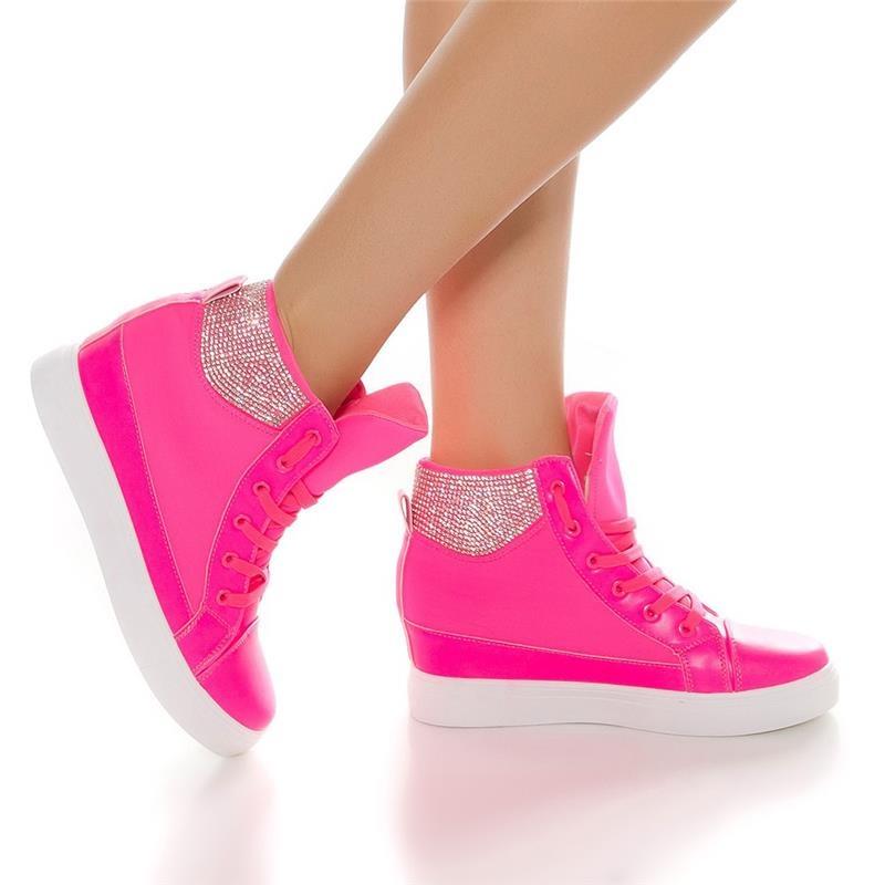 trendy ladies 39 wedge heel sneakers with rhinestones 34 95. Black Bedroom Furniture Sets. Home Design Ideas