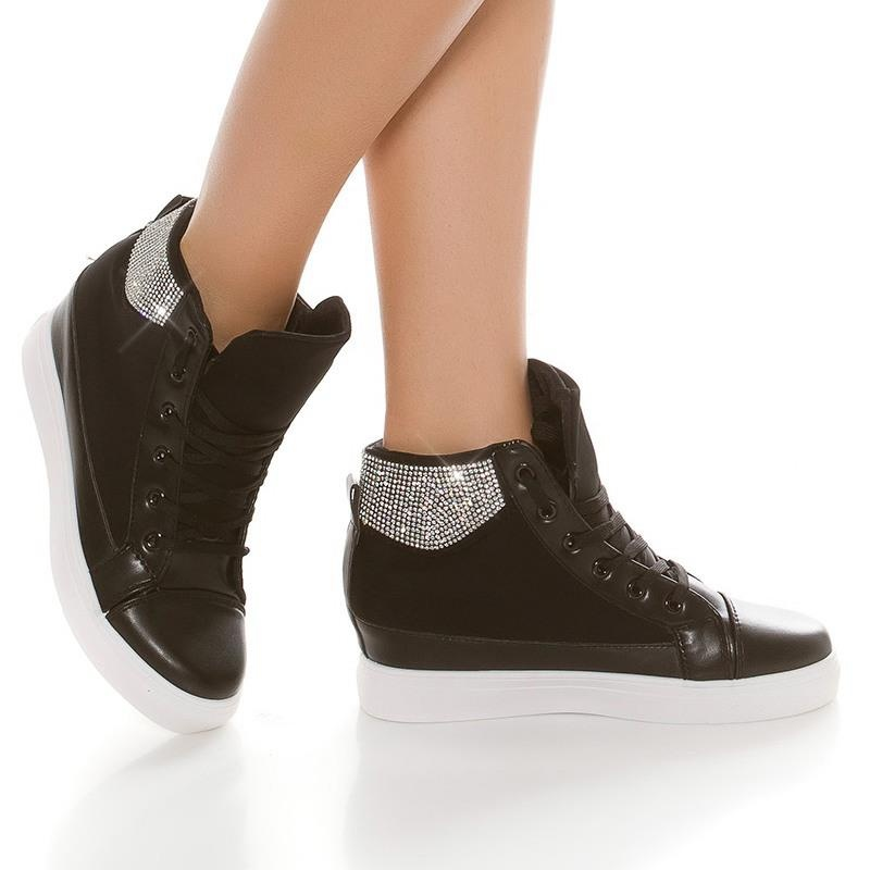 trendy damen keil sneaker mit strass 34 95. Black Bedroom Furniture Sets. Home Design Ideas