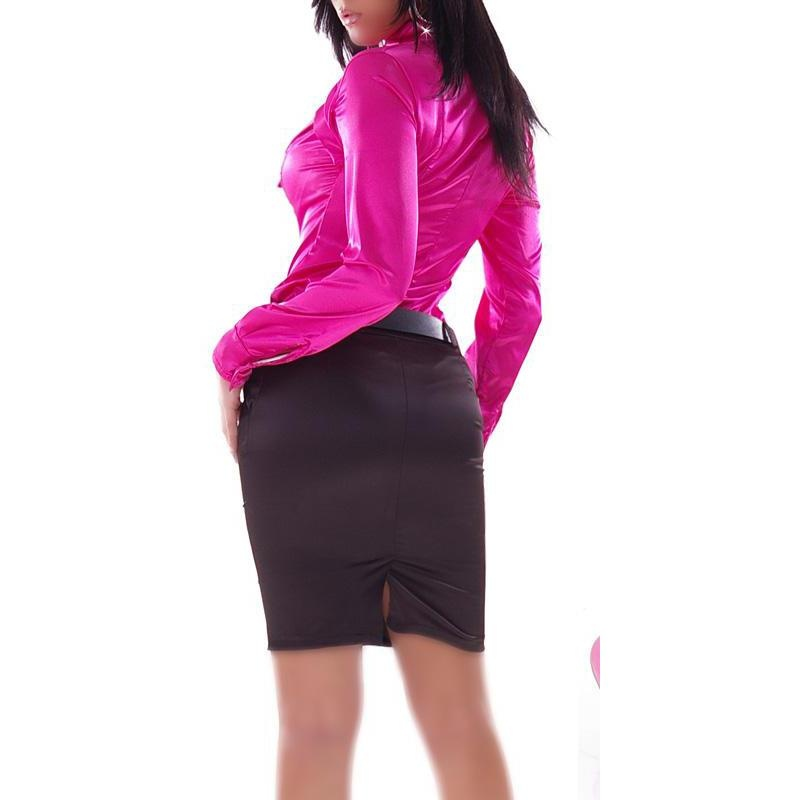 Skinny pencil skirt made of shiny satin fabric, 24,95 €