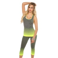 2-TEILIGES WORKOUT SPORT-SET JOGGING TOP+HOSE GRAU/NEON GELB