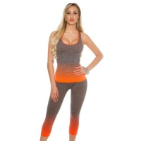2-TEILIGES WORKOUT SPORT-SET JOGGING TOP+HOSE GRAU/ORANGE