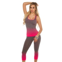 2 PCS FITNESS WORKOUT JOGGING YOGA SPORT SET GREY/FUCHSIA