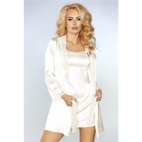 3-PCS SATIN SLEEPWEAR SET CHEMISE DRESSING GOWN THONG...