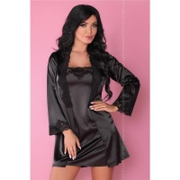 3-PCS SATIN SLEEPWEAR SET CHEMISE DRESSING GOWN THONG BLACK