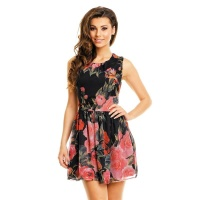 SWEET A-LINE CHIFFON MINIDRESS WITH FLORAL DESIGN BABYDOLL BLACK UK 8/10 (S/M)