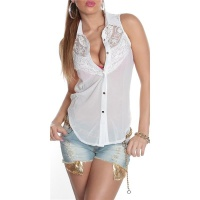 ELEGANT SLEEVELESS CHIFFON-BLOUSE WITH LACE TRANSPARENT WHITE UK 12/14 (M/L)