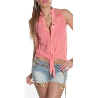 SLEEVELESS TIE-UP CHIFFON BLOUSE WITH LACE TRANSPARENT CORAL