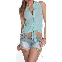 SLEEVELESS TIE-UP CHIFFON BLOUSE WITH LACE TRANSPARENT...