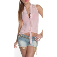 SLEEVELESS TIE-UP CHIFFON BLOUSE WITH LACE TRANSPARENT PINK