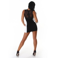 SLEEVELESS BI-COLOUR MINIDRESS WITH LACE BLACK/WHITE