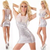 SEXY SLEEVELESS SEQUINED GLAMOUR PARTY MINIDRESS SILVER
