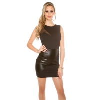 SLEEVELESS PARTY MINIDRESS WITH IMITATION LEATHER BLACK