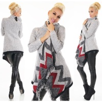 ASYMMETRIC CUDDLY LADIES CARDIGAN LONG JACKET WITH...