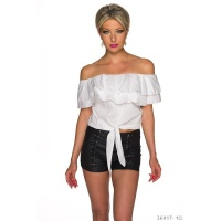 SEXY LATINA STYLE CROP TOP TO TIE WITH CARMEN NECKLINE WHITE
