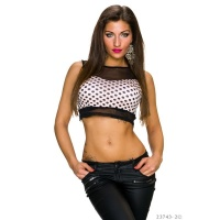 SEXY CHIFFON CROP TOP WITH POLKA DOTS BLACK/PINK