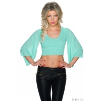 LADIES BELLY CHIFFON SHIRT WITH TRUMPET SLEEVES MINT GREEN