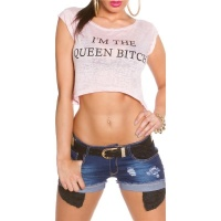 "BAUCHFREIES SHIRT MIT PRINT ""IM THE QUEEN..."
