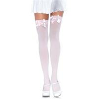 OPAQUE LEG AVENUE NYLON STOCKINGS WITH SATIN BOW PINK